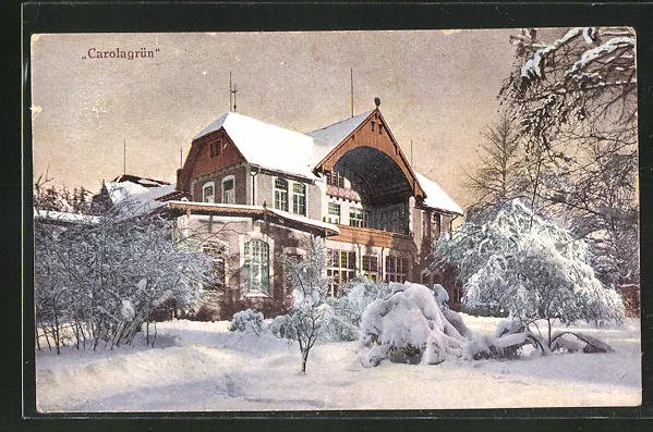 AK Carolagrün, Gasthaus Carolagrün im Winter