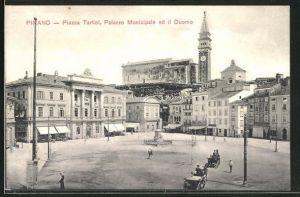 AK Pirano, Piazza Tartini, Palazzo Municipale ed il Duomo