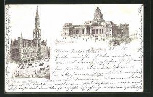 Lithographie Brüssel / Bruxelles, Palais de Justice, Hotel de Ville