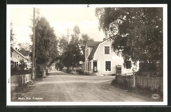 Foto-AK Fröseke, Dorfpartie mit Strasse und Häusern