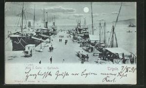 Mondschein-AK Trieste, Molo S. Carlo / Partie mit Karlsmolo