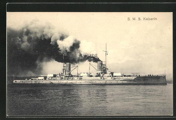 AK Kriegsschiff SMS Kaiserin unter Volldampf