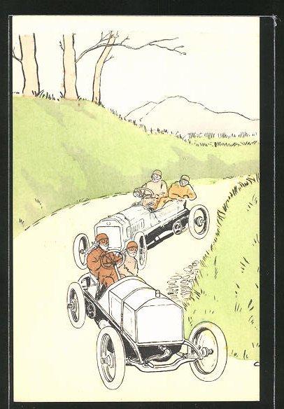 AK Herren fahren mit dem Auto durch Berg und Tal