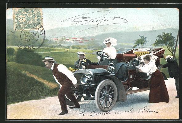 AK Männer und Frauen schieben ein Auto einen Berg hinauf