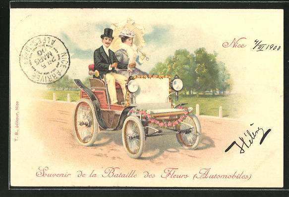 AK Liebespaar im Auto mit Blumen & Sonnenschirm