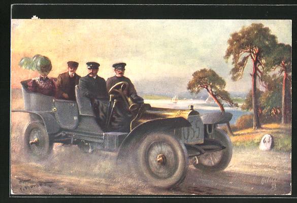 AK Männer und Frau fahren mit dem Auto an einem See vorbei