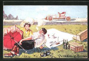 Künstler-AK Ermenegildo Carlo Donadini: Paar beim Picknick im Grünen