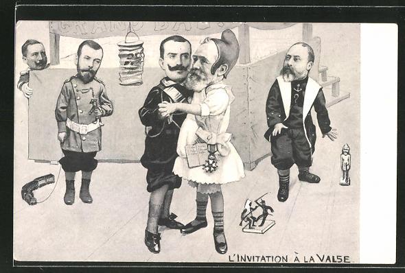 AK Zar Nikolaus II. von Russland und König Edward VII. von England beobachten den König von Griechenland beim Tanz
