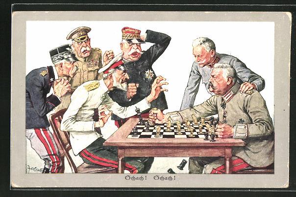 Künstler-AK Theo Zasche: Generalfeldmarschall von Hindenburg bietet seinen Feinden