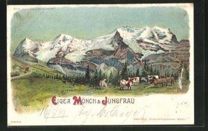 Lithographie Eiger Mönch & Jungfrau, Halt gegen das Licht: Alpenglühen