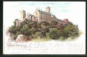 Lithographie Panoramablick auf die Wartburg, Halt gegen das Licht: beleuchtete Fenster