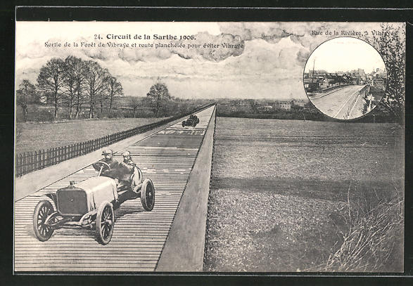 AK Vibraye, Circuit de la Sarthe 1906, Autorennen, Sortie de la Foret de Vibraye, Rue de la Rivière