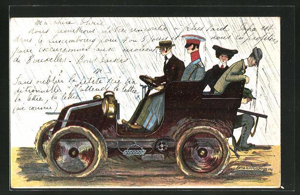 Künstler-AK sign. Hans Kaltenberger: durchnässte Herren und Dame in einem Auto