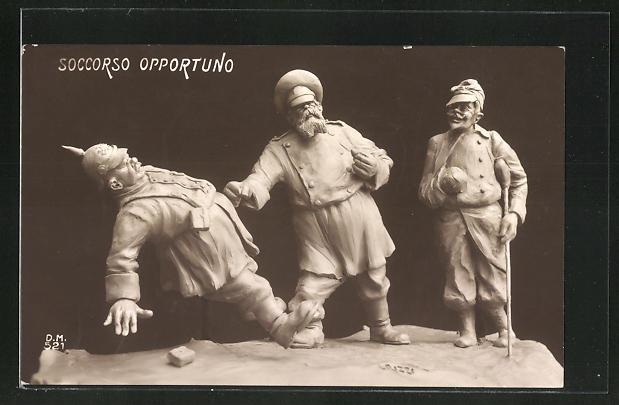 AK Soccorso Opportuno, Karikatur von Nikolaus II. von Russland der einen Soldaten mit Pickelhaube schlägt