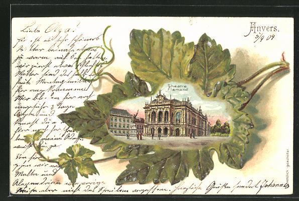 Passepartout-Lithographie Anvers, Theatre Flamand in einem Eichenblatt