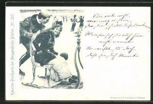 Künstler-AK Meggendorfer Blätter Nr.507: junger Mann mit seiner Liebsten beim Schlittschuhlaufen