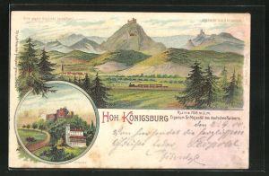 AK Hohkönigsburg, Blick auf das Schloss Hohkönigsburg, Halt gegen das Licht