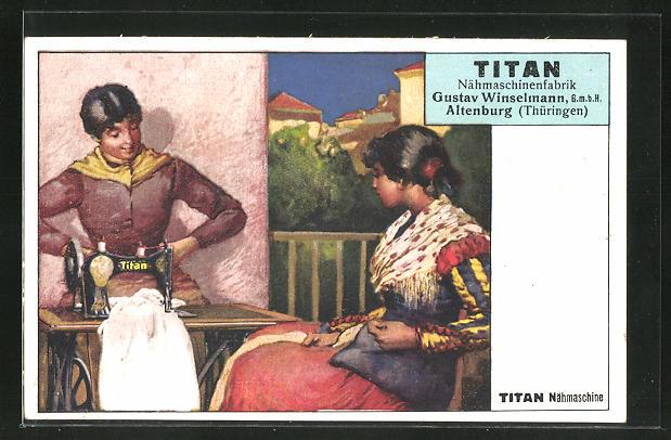 AK Altenburg, Titan Nähmaschinenfabrik Gustav Winselman GmbH, Frauen mit Titan Nähmaschine