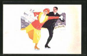 Künstler-AK sign.I. Eschbach: St. Moritz, junges Paar beim Eislaufen