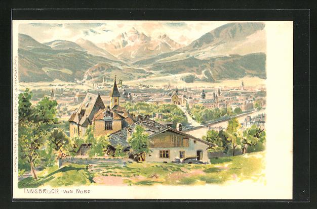 Künstler-AK Edward Theodore Compton: Innsbruck von Nord