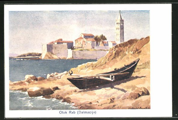 Künstler-AK Edo v. Handel-Mazzetti: Otok Rab, Blick zur Stadt, Dalmacija