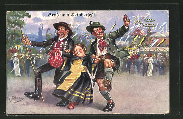 Künstler-AK Ernst Schlemo: Oktoberfest, Münchner Kindl und lustige Bayern