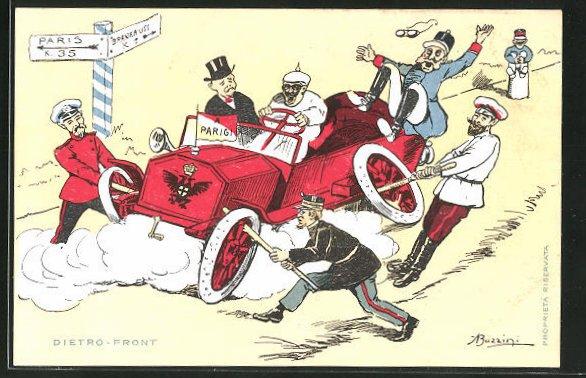 Künstler-AK Dietro-Front, Scherz, Kaiser Franz Josef I. von Österreich, Nikolaus II. von Russland, etc.