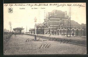 AK Couillet, la Gare - Centre, Zentralbahnhof