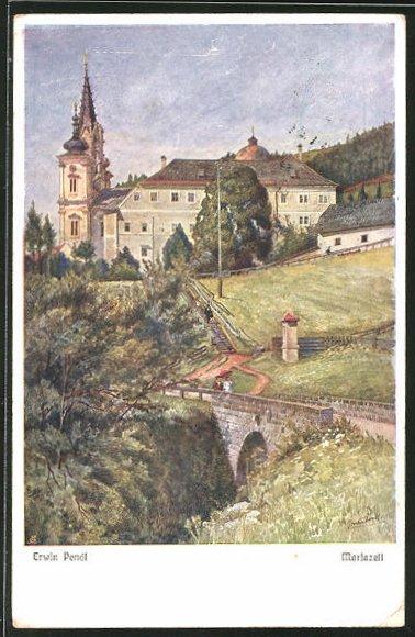 Künstler-AK Erwin Pendl: Mariazell, Panorama