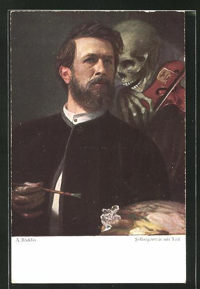 Künstler-AK Arnold Böcklin: Selbstportrait mit Tod