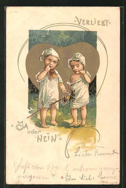 Lithographie Veliebt, Ja oder Nein, Kleinkinder mit Steckenpferd