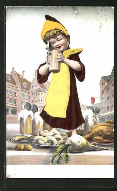 Präge-AK Münchner Kindl mit Bier, Weisswurst und Radi