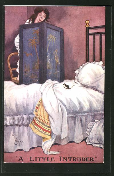 Künstler-AK Reg. Carter: A little Intruder, verängstigte Frau und Maus