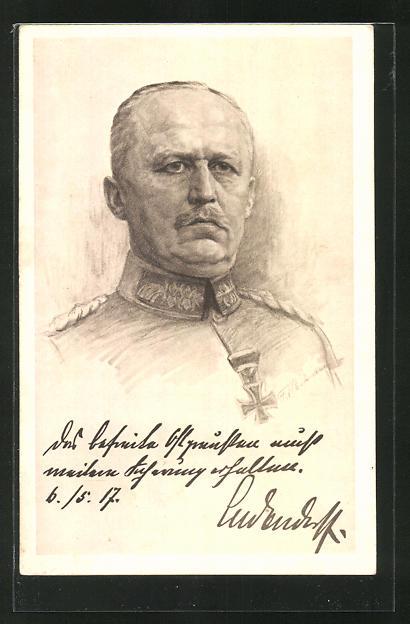 Künstler-AK Erich Ludendorff, Kopfportrait