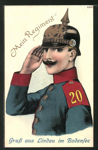 Präge-AK Lindau am Bodensee, Mein Regiment, Soldat mit Schulterklappe 20 und Pickelhaube