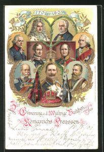 Lithographie Friedrich Wilhelm III. von Preussen und andere Herrscher, 200 Jahre Königreich Preussen