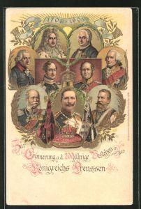 Lithographie Friedrich Wilhelm III. von Preussen, 200 Jahre Königreich Preussen