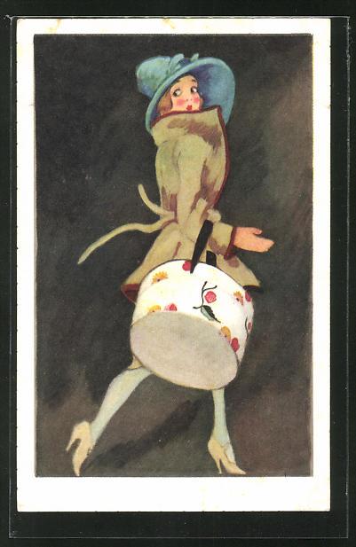 Künstler-AK sign. Dudovich: Elegante Dame mit Hutbox und Hut