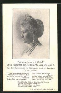 AK Portrait Kaiserin Auguste Victoria Königin von Preussen im Kleid mit Krone und Perlenschmuck