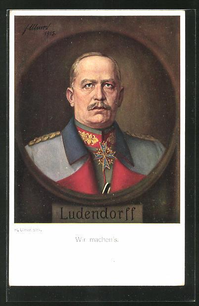 AK Portrait Erich Ludendorff in Uniform mit Orden