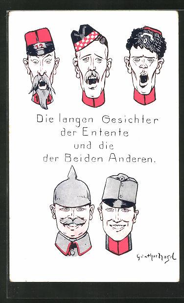 Künstler-AK Günther Nagel: Erzürnte Gesichter der Entente und glückliche Gesichter der Deutschen, Propaganda 1.WK
