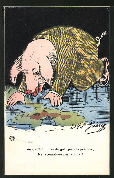 AK vermenschlichtes Schwein übergibt sich, Toi qui as du goût pour la peinture