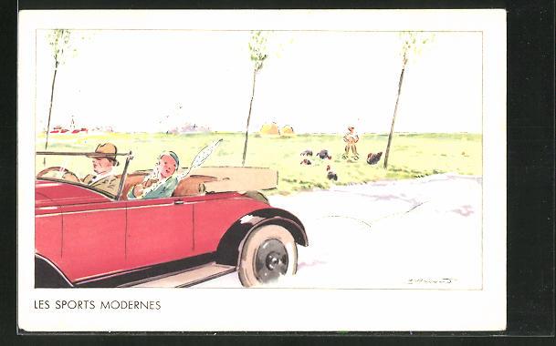 AK Junges Paar im Auto in rasanter Fahrt auf der Landstrasse