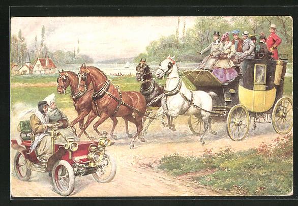 AK Kutsche kreuzt den Weg des Autos auf der Landstrasse