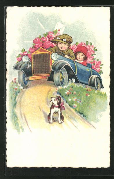AK Auto mit Rosen, Hund auf der Strasse