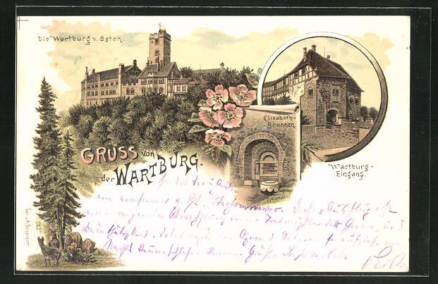 Lithographie Wartburg, Blick auf die Burg, den Eingang und den Elisabeth-Brunnen