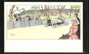 Künstler-AK sign. H. Eliott: Menschen jubeln dem Rennfahrer in seinem Auto zu