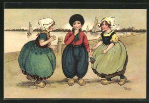 Künstler-AK Florence Hardy: Kinder in niederländischen Trachten mit Holzschuhen