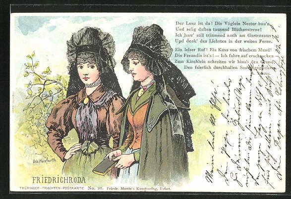 Künstler-AK Oskar Herrfurth: Frauen in thüringischer Tracht