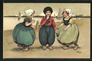Künstler-AK Florence Hardy: Kinder in niederländischer Tracht mit Haube und Holzschuhen